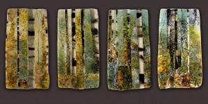 Close Woods glass artwork by Roger V Thomas