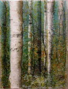 Turquoise Forest glass artwork by Roger V Thomas