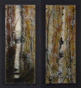 Opus 586 Goldilocks and Opus 587 Chiaroscuro fused glass artwork by Roger Thomas